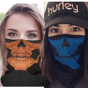 Accessories - 2 tube style skull face masks (blue and orange)